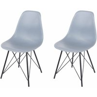 Aspen Plastic Chair With Metal Legs Pack of 2, Grey