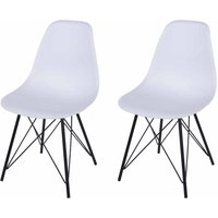 Aspen Plastic Chair With Metal Legs Pack of 2, White