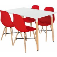 Aspen Rectangular Table with 4 Chairs Dining Set, Red