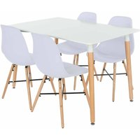 Aspen Rectangular Table with 4 Chairs Dining Set, White