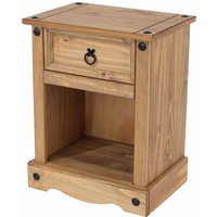 Corona Antique Wax 1 Drawer Bedside Cabinet