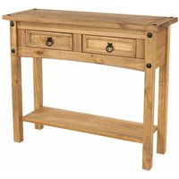 Corona Antique Wax 2 Drawer Hallway Table with Shelf, Anitque Wax