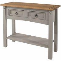 Corona Grey 2 Drawer Hallway Table with Shelf, Grey