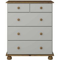 Steens Richmond Pine 2 Over 3 Deep Chest of Drawers, Grey