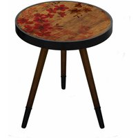 Round Wooden Side Table Red Flowers, Red