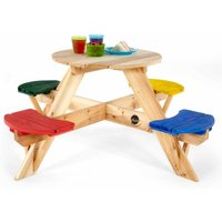 Plum Childrens Round Wooden Picnic Table with Coloured Seats, Brown