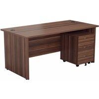 Image of TC Office Panel End Desk and 3 Drawer Mobile Pedestal Bundle 1800 x 800mm, Dark Walnut