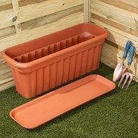 Wham Vista Traditional Trough with Tray 80cm Set of 3, Terracotta