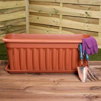 Wham Vista Traditional Trough with Tray 80cm Set of 5, Terracotta