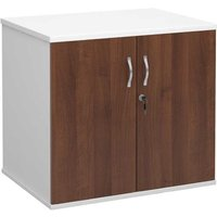 Desk High Cupboard with Doors Walnut and White, Walnut White
