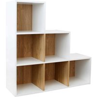 Dannington 6 Cube Step Shelving Unit White and Oak Effect