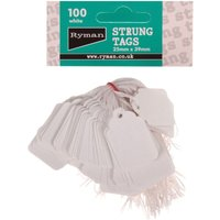Strung Tag 25x39mm Pack of 100, White at Ryman Stationery