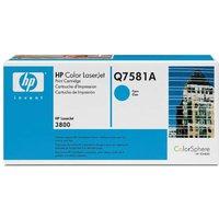 HP Q7581A Colour Laser Printer Ink Toner Cartridge, Cyan