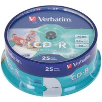 Verbatim Printable CDR 25 Spindle 52x 80min, 52x 80min