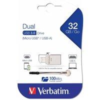 Verbatim 32GB Micro Dual Drive USB 3.0, Silver
