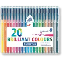 Staedtler Triplus Fibre Tip Pens Pack of 20, Assorted