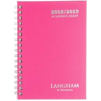 Langham by Ryman Wiro Diary Week to View A6 Mid-Year 2018-2019, Pink