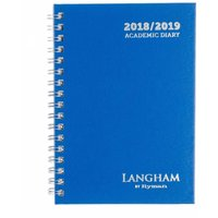 Langham by Ryman Wiro Diary Week to View A6 Mid-Year 2018-2019, Blue