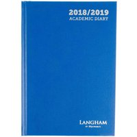 Langham by Ryman Diary 2 Days per Page A5 Mid-Year 2018-2019, Blue