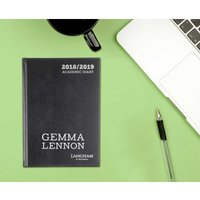 Langham by Ryman Personalised Diary Week to View A5 Mid-Year 2018-2019, Black