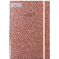 Image of Ryman Rose Gold Glitter Diary A5 Week to View 2021, Rose Gold