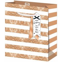 Click to view product details and reviews for Christmas Gift Bag Gold Stripe Large.