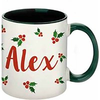 Personalised Christmas Holly Mug