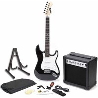 RockJam RGEG01 Full Size Black Electric Guitar Super Kit with 20 Watt Amp
