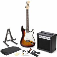 RockJam RGEG01 Full Size Sunburst Electric Guitar Super Kit with 20 Watt Amp