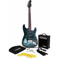 Jaxville ST1 PK Hades ST Style Electric Guitar Bundle with 10 Watt Amp