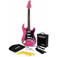 Jaxville ST1 PK Pink Punk ST Style Electric Guitar Bundle with 10 Watt Amp