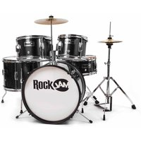 RockJam RJ105 Complete 5 Piece Junior Drum Set, Black