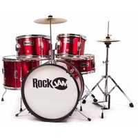 RockJam RJ105 Complete 5 Piece Junior Drum Set, Red