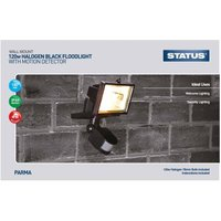Status Parma Halogen Floodlight with PIR Motion Detector, Black