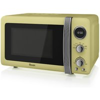 800W Retro Digital Microwave, Cream
