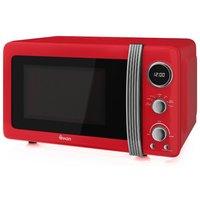 800W Retro Digital Microwave, Red