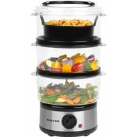Salter 3 Tier Stacking Food Steamer 7 5L  Stainless Steel
