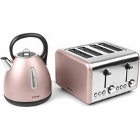 Buy Salter Metallic Polaris Dome Kettle and 4 Slice Toaster Set, Champagne - Ryman