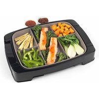 Weight Watchers 5 Portion Marble Grill Plate, Black