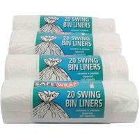 Safewrap Swing Bin Liners 50L Pack of 80, White