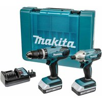 Makita G Series 18V 2 Piece Cordless Combo Drill and Impact Driver Kit Plus 2 Batteries and Charger, Teal