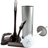 Charles Bentley 5 Piece Chrome Bathroom Essentials Cleaning Set, White