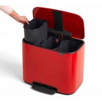 Brabantia Bo Pedal Bin 3 x 11 litre, Red