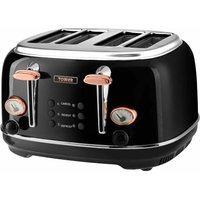 Buy Tower 4 Slice Rose Gold Edition Stainless Steel Toaster, Black - Ryman