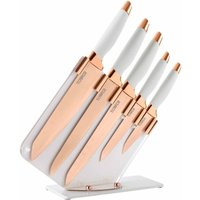 Tower Rose Gold Edition 5 Piece Damascus Knife Set, White
