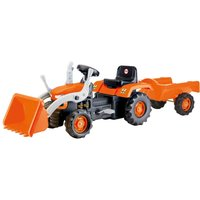 Charles Bentley Dolu Kids Pedal Operated Tractor with Trailer and Excavator, Orange