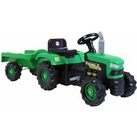 Charles Bentley Dolu Kids Ride On Green Tractor With Trailer, Green