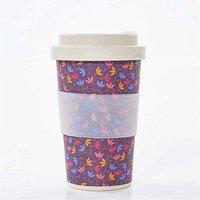 Eco Chic Bamboo Travel Mug 400ml Ditsy Doodle, Purple