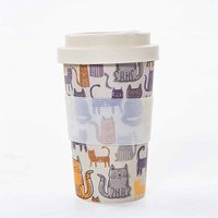 Eco Chic Bamboo Travel Mug 400ml Grey Funky Cat, Grey