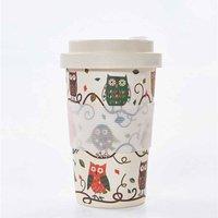 Eco Chic Bamboo Travel Mug 400ml Neutral Owls, Neutral